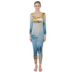 Park Nature Painting Long Sleeve Catsuit