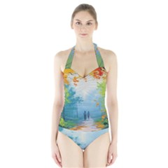 Park Nature Painting Halter Swimsuit