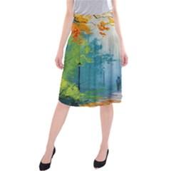 Park Nature Painting Midi Beach Skirt