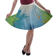 Park Nature Painting A Line Skater Skirt