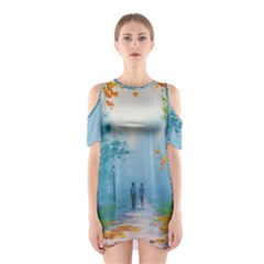 Park Nature Painting Shoulder Cutout One Piece