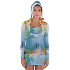 Park Nature Painting Women s Long Sleeve Hooded T-shirt