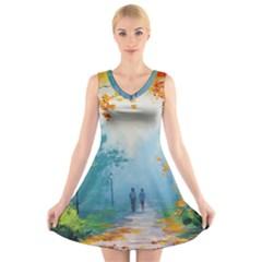 Park Nature Painting V Neck Sleeveless Skater Dress