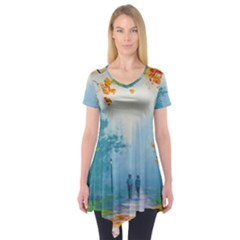 Park Nature Painting Short Sleeve Tunic