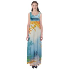Park Nature Painting Empire Waist Maxi Dress