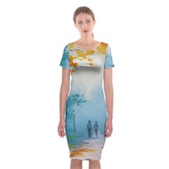 Park Nature Painting Classic Short Sleeve Midi Dress