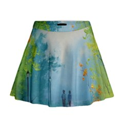 Park Nature Painting Mini Flare Skirt