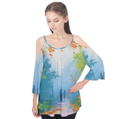 Park Nature Painting Flutter Tees