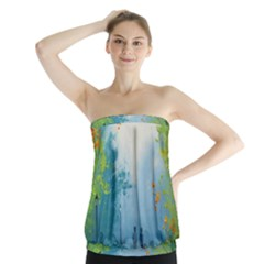 Park Nature Painting Strapless Top