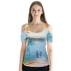 Park Nature Painting Butterfly Sleeve Cutout Tee