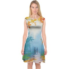 Park Nature Painting Capsleeve Midi Dress