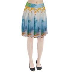 Park Nature Painting Pleated Skirt