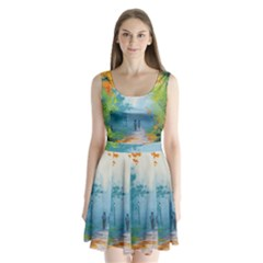 Park Nature Painting Split Back Mini Dress