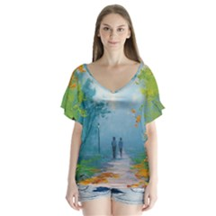 Park Nature Painting Flutter Sleeve Top