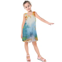 Park Nature Painting Kids  Sleeveless Dress