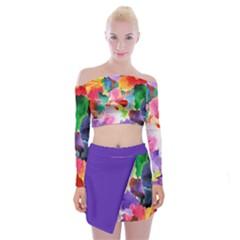 Flower Off Shoulder Top With Skirt Set