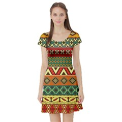 Mexican Folk Art Patterns Short Sleeve Skater Dress
