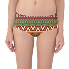 Mexican Folk Art Patterns Mid-Waist Bikini Bottoms