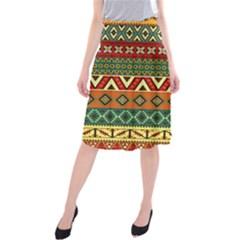 Mexican Folk Art Patterns Midi Beach Skirt