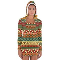Mexican Folk Art Patterns Women s Long Sleeve Hooded T Shirt