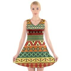 Mexican Folk Art Patterns V Neck Sleeveless Skater Dress