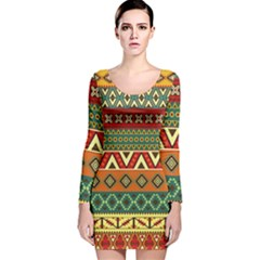 Mexican Folk Art Patterns Long Sleeve Velvet Bodycon Dress