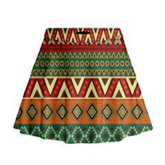 Mexican Folk Art Patterns Mini Flare Skirt