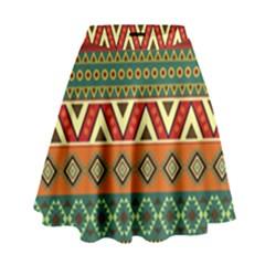 Mexican Folk Art Patterns High Waist Skirt