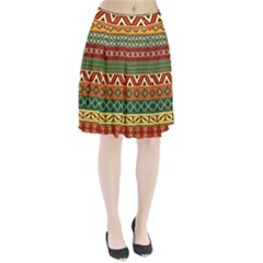 Mexican Folk Art Patterns Pleated Skirt