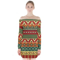 Mexican Folk Art Patterns Long Sleeve Off Shoulder Dress