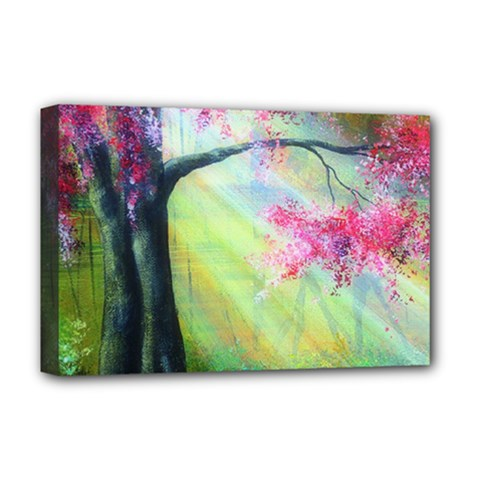 Forests Stunning Glimmer Paintings Sunlight Blooms Plants Love Seasons Traditional Art Flowers Sunsh Deluxe Canvas 18  X 12