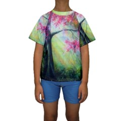 Forests Stunning Glimmer Paintings Sunlight Blooms Plants Love Seasons Traditional Art Flowers Sunsh Kids  Short Sleeve Swimwear