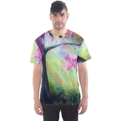 Forests Stunning Glimmer Paintings Sunlight Blooms Plants Love Seasons Traditional Art Flowers Sunsh Men s Sport Mesh Tee