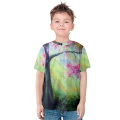 Forests Stunning Glimmer Paintings Sunlight Blooms Plants Love Seasons Traditional Art Flowers Sunsh Kids  Cotton Tee