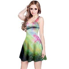 Forests Stunning Glimmer Paintings Sunlight Blooms Plants Love Seasons Traditional Art Flowers Sunsh Reversible Sleeveless Dress