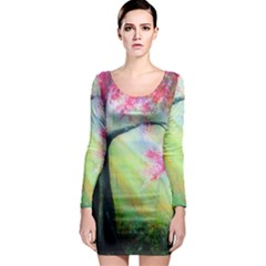 Forests Stunning Glimmer Paintings Sunlight Blooms Plants Love Seasons Traditional Art Flowers Sunsh Long Sleeve Bodycon Dress