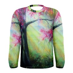 Forests Stunning Glimmer Paintings Sunlight Blooms Plants Love Seasons Traditional Art Flowers Sunsh Men s Long Sleeve Tee