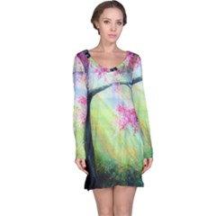 Forests Stunning Glimmer Paintings Sunlight Blooms Plants Love Seasons Traditional Art Flowers Sunsh Long Sleeve Nightdress