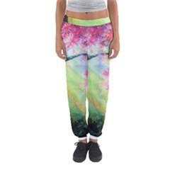 Forests Stunning Glimmer Paintings Sunlight Blooms Plants Love Seasons Traditional Art Flowers Sunsh Women s Jogger Sweatpants