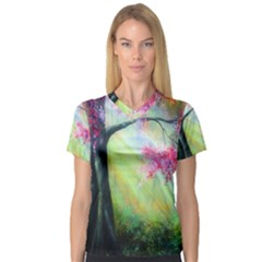 Forests Stunning Glimmer Paintings Sunlight Blooms Plants Love Seasons Traditional Art Flowers Sunsh Women s V Neck Sport Mesh Tee