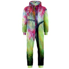 Forests Stunning Glimmer Paintings Sunlight Blooms Plants Love Seasons Traditional Art Flowers Sunsh Hooded Jumpsuit (men)