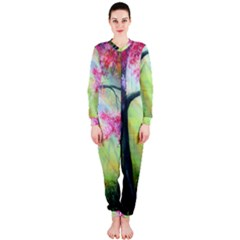 Forests Stunning Glimmer Paintings Sunlight Blooms Plants Love Seasons Traditional Art Flowers Sunsh OnePiece Jumpsuit (Ladies)