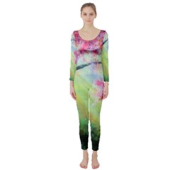 Forests Stunning Glimmer Paintings Sunlight Blooms Plants Love Seasons Traditional Art Flowers Sunsh Long Sleeve Catsuit