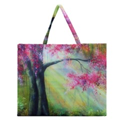 Forests Stunning Glimmer Paintings Sunlight Blooms Plants Love Seasons Traditional Art Flowers Sunsh Zipper Large Tote Bag