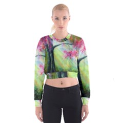 Forests Stunning Glimmer Paintings Sunlight Blooms Plants Love Seasons Traditional Art Flowers Sunsh Women s Cropped Sweatshirt