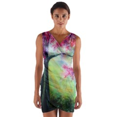 Forests Stunning Glimmer Paintings Sunlight Blooms Plants Love Seasons Traditional Art Flowers Sunsh Wrap Front Bodycon Dress