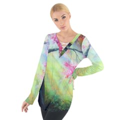 Forests Stunning Glimmer Paintings Sunlight Blooms Plants Love Seasons Traditional Art Flowers Sunsh Women s Tie Up Tee