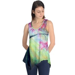 Forests Stunning Glimmer Paintings Sunlight Blooms Plants Love Seasons Traditional Art Flowers Sunsh Sleeveless Tunic