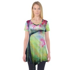 Forests Stunning Glimmer Paintings Sunlight Blooms Plants Love Seasons Traditional Art Flowers Sunsh Short Sleeve Tunic