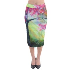 Forests Stunning Glimmer Paintings Sunlight Blooms Plants Love Seasons Traditional Art Flowers Sunsh Midi Pencil Skirt
